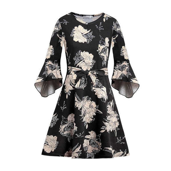Женская половина рукава свободно круглый воротник платье леди средней длины печати модной одежды AIC88