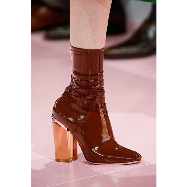 Stivali donna vintage a punta quadrata Pelle verniciata 9cm Tacchi alti quadrati Botines Mujer Pink Short Booties Scarponcino da donna