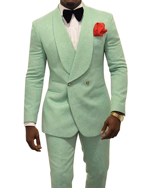 Handsome Double-Breasted Groomsmen Shawl Lapel Groom Tuxedos Men Suits Wedding/Prom/Dinner Best Man Blazer(Jacket+Pants+Tie) B89