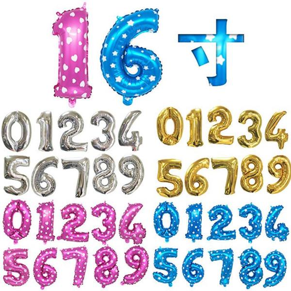 2019 Número del alfabeto de plata Oro de helio globo de papel de aluminio 26 letras 0-9 números libre de DHL de la fiesta de cumpleaños de Navidad globo boda