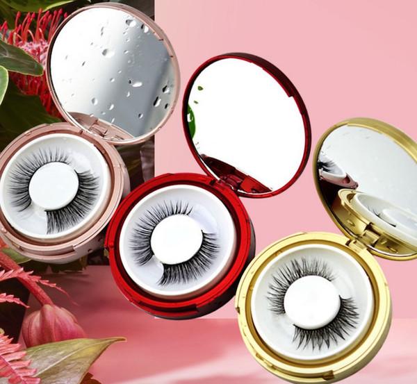 Boite de cils ronde en plastique rose or boîte de cils avec miroir Cils Paquet Boîte Cosmétiques vider les yeux Cils Paquet Boîtes gratuit DHL
