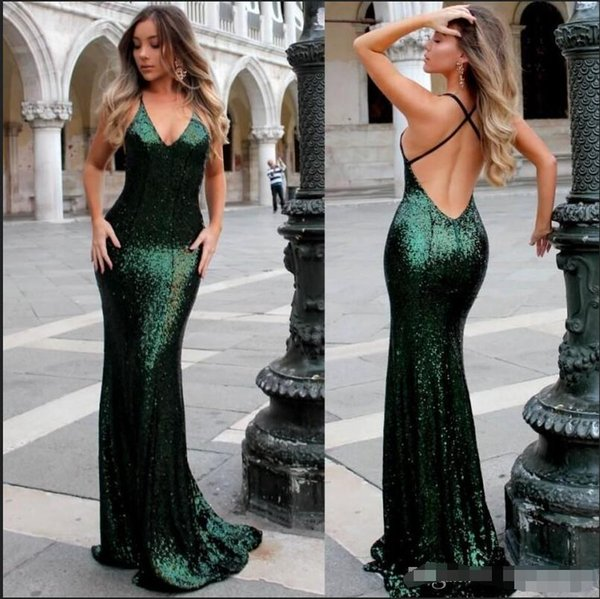 2019 Emerald Green Sequined Prom Party Dresses V Neck Mermaid Open Back Long Evening Gowns For Celebrity Dress