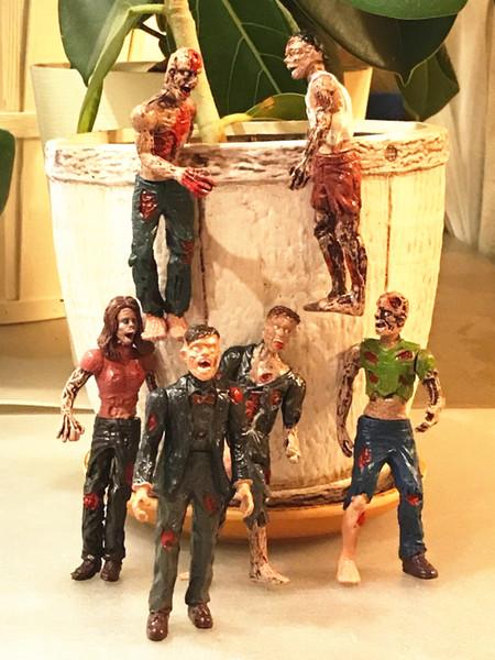 [ÜST] 6 adet / grup Zombi Walking Dead Bebekler Aksiyon Figürleri Oyuncaklar Terör ceset Statik Modeli Hareketli Eklemler oyuncak çocuklar çocuk hediye