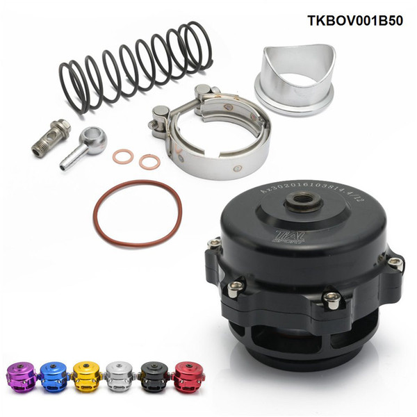 Tansky - Jdm universel 50 mm V bande Blow Off Valve BOV Q typer w / soudure sur aluminium Bride avec logo TKBOV001B50
