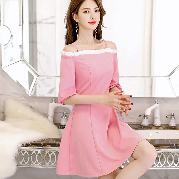 Spring-Summer New Korean Version of the Large Size Was Thin Womens Casual Fashion-Wild Solid Color Dress