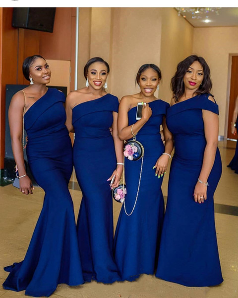 2019 Royal Blue Mermaid Bridesmaid Dresses African Nigerian Wedding Guest Dresses One Shoulder Bridesmaid Gowns Maid of Honor Dresses