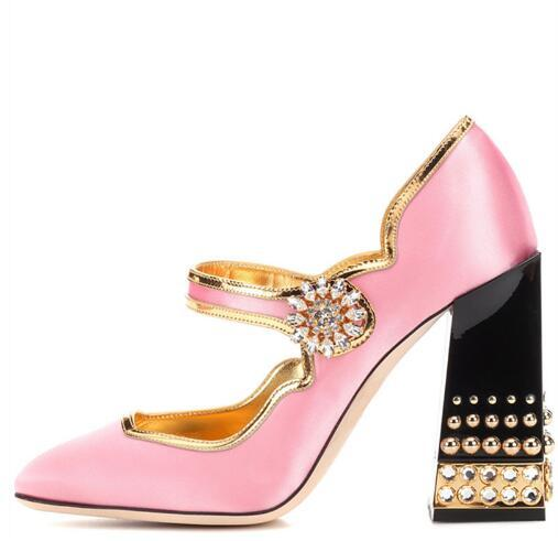 Mary Jane Shoes Thick Chunky Jewelry Heel Rhinestone Buckle Women Pumps Lolita Style Pink Satin heels 2018 New Brand Design