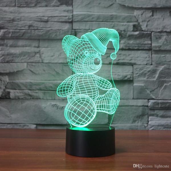 Regalos del regalo La lámpara de Navidad del oso de peluche 3D Ilusión Noche Light Touch 7 cambio de color Decoración del muchacho del bebé LED de Navidad de Navidad