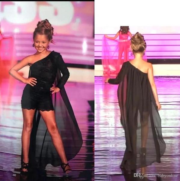 elegantdress008 / 2019 Black Girl Pageant Dress One Shoulder Lace Appliqued Little Kids Fiesta de cumpleaños con Cape Flower Girl Dress Alfombra roja