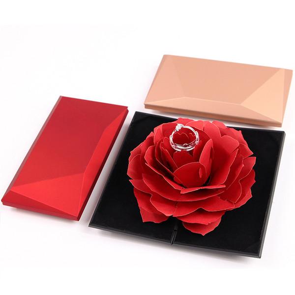 Creativo Plegable Rosa Caja de Anillo Romántico Clásico Mujeres Joyería Anillos Caja de Almacenamiento Caja de Regalo Pequeña Caja de Regalo para el Día de San Valentín TTA695