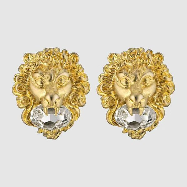 New fa hion trendy women earring yellow gold plated clear cz lion head earring for girl women nice gift for friend, Golden;silver