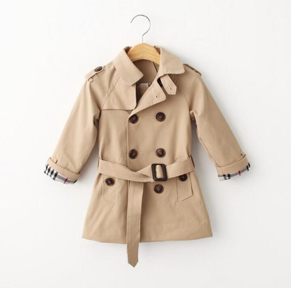 top popular Retail Spring trench coat for girls boy clothes children clothing cotton double-breasted jacket kids clothes windbreaker girls boys Coat 2019