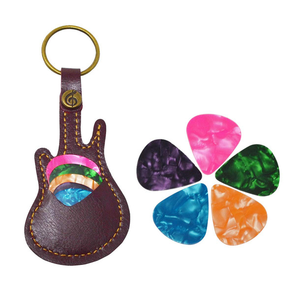 Guitar Pick Holder Leather Keyring Keychain Case for Guitar Pick Bag with 5Pcs Plectrums Gift