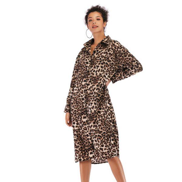 Womens Leopard Dresses 2019 New Arrival Women Printed Split Shirt Skirt Fashion Brief Casual Ladies Dresses Size M-XL