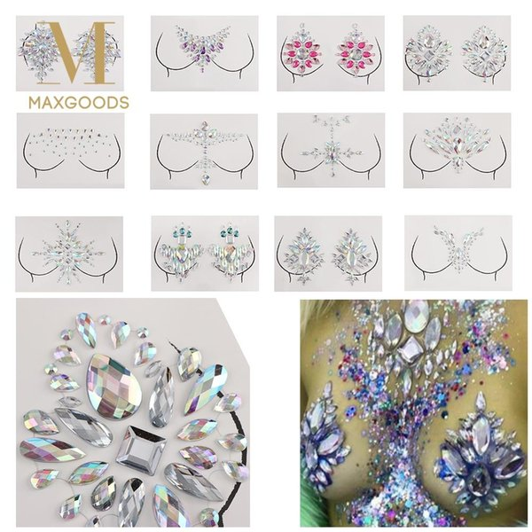 2018 New Adhesive Bohemia Crystal Tattoo Sticker Jewelry Face Neck Chest Gems Wedding Party Body Boobs Jewellery