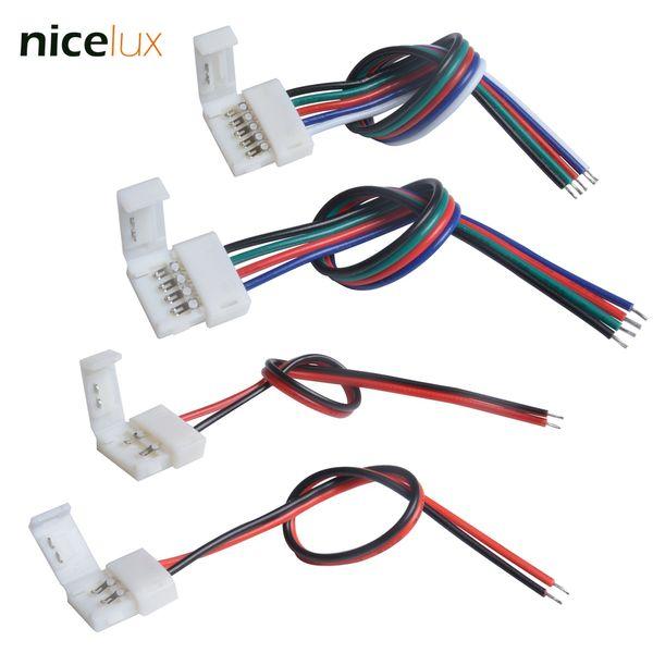 Ucuz Konnektörler 5 adet 2/4/5 Pin 8 10mm için LED Şerit Bağlayıcı 12mm 3528 5050 5630 RGB RGBW IP20 Su Geçirmez LED Bant Işık