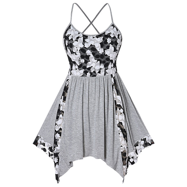 2019 Wipalo Floral Lace Insert Plus Size Tank Top Criss Cross Handkerchief  Asymmetrical Summer Tank Tops Sleeveless Women Clothes From Samanthe, ...