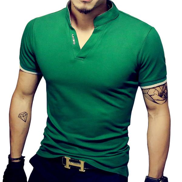 Hot Sale Mens V Neck T Shirt 2019 Summer Fashion Solid Short Sleeve T Shirt Men Collar Slim Fit Mens Top Tees Shirt
