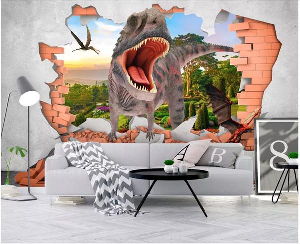 WDBH 3d foto sfondo personalizzato Cartoon dinosauro rottura parete di fondo Room Decor murales 3D dei bambini Wallpaper per pareti 3 d