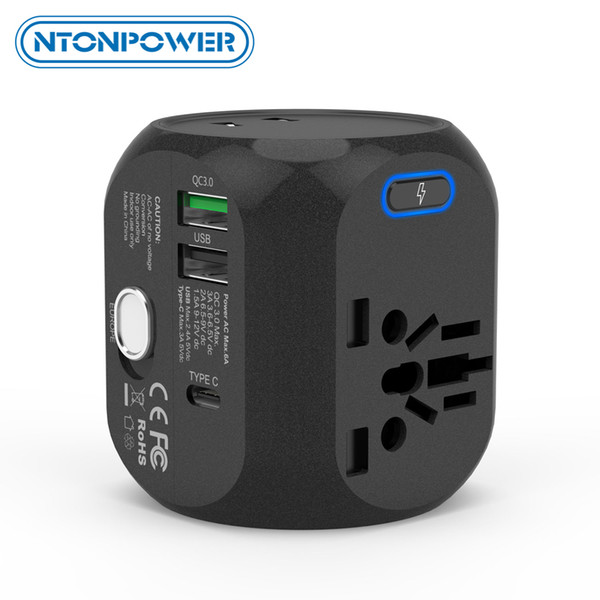 heap International Plug Adaptor NTONPOWER Universal Adapter All-In-One International Travel Plug Adapter with Type-C QC3.0 Wall Charger f...