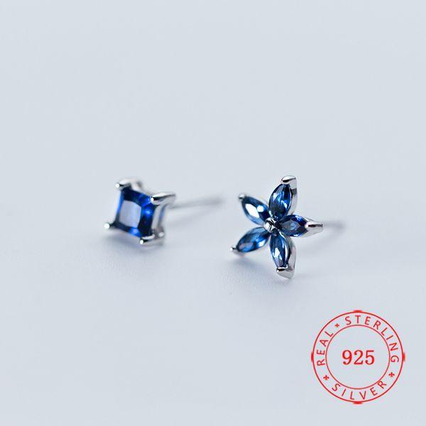 gute qualität 925 Sterling Silber neue design quadratische form Ohrstecker Blau Zirkon asymmetrische Blume Frauen Ohrring aus China