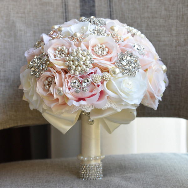 Luxurious Silk Artificial Flowers Pearls Crystal Wedding Bouquet Bridal Bouquet Robe De Mariage Handhold For Bride Champagne