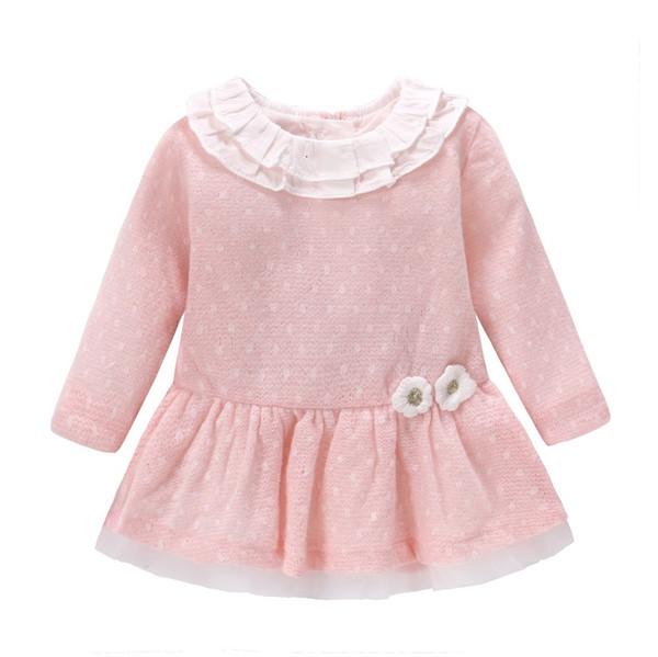 New 2018 Baby Girls Dress Wool Knit Crochet Dress Spring Autumn Cute Dress Newborn Clothing Cartoon Long Sleeve Infant Dresses J190506