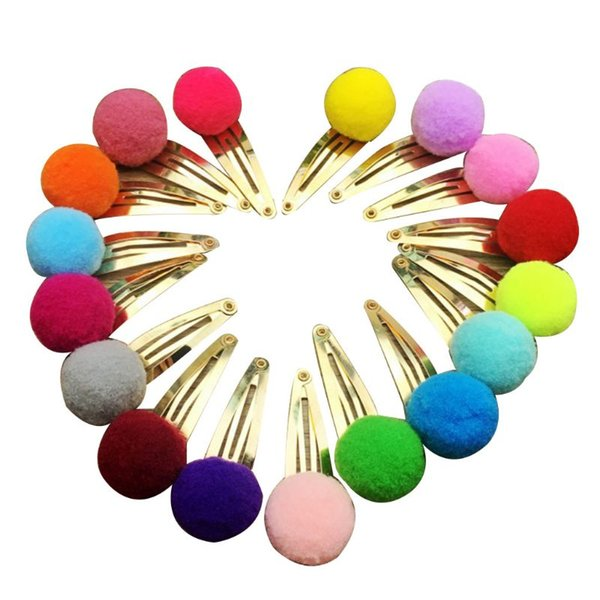 10Pcs/Set Child Baby Girls Metal Alloy Hair BB Clips Lovely Candy Color Mini Pompom Ball Decor Hairpins Water Drop Sweet Snap Ba