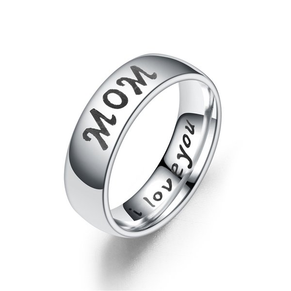 Hot Sale I Love You Mom Daughter Son Dad Family Member Gift for Mother Days Stainless Steel Women Rings