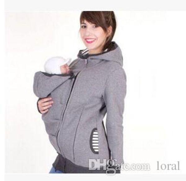 Automne Hiver Femmes Hauts Mode Porte-bébé À Capuche Zip Up Maternité Kangourou À Capuche Sweat Hoodies