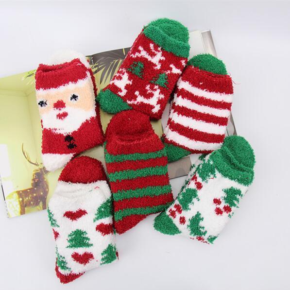 Christmas Towel Ankle SocksThicken WZFZ Warm Fuzzy Terry Elastic Short Coral Velvet Floor Carpet Spring Winter Lady Girl Towel Ankle Socks