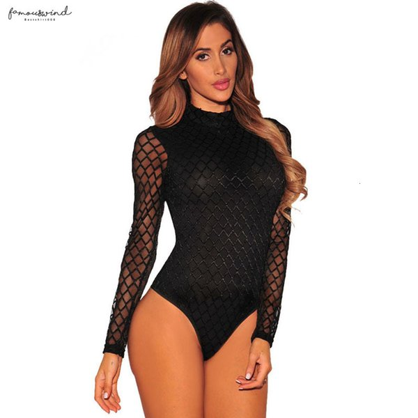 2019 puro nero a maniche lunghe Mesh Body Donna Top aderente pagliaccetto fitness tuta Magro Moda lattice sottile sexy Body