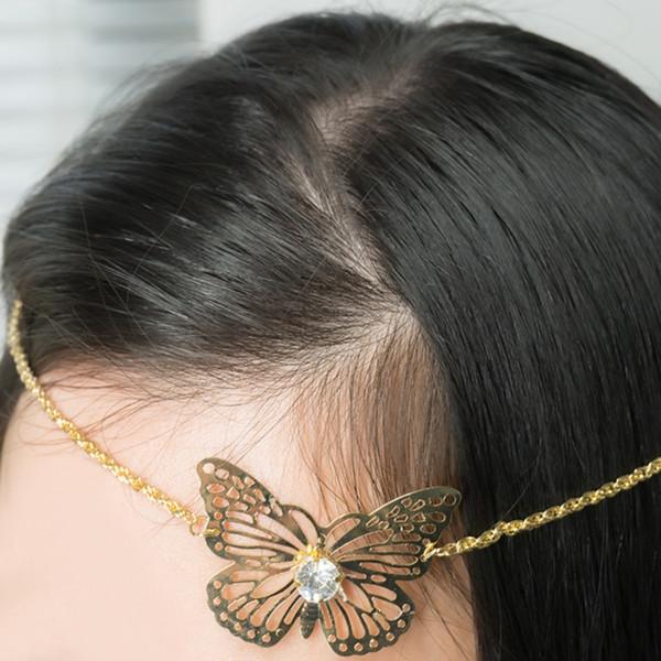 pparel Accessoires Couvre-chefs Femme Papillon Accessoires Cheveux Lunette Métallique Mode Poignées à Cheveux Chaîne Cheveux Épingles À Cheveux Bandeau Bijoux ...