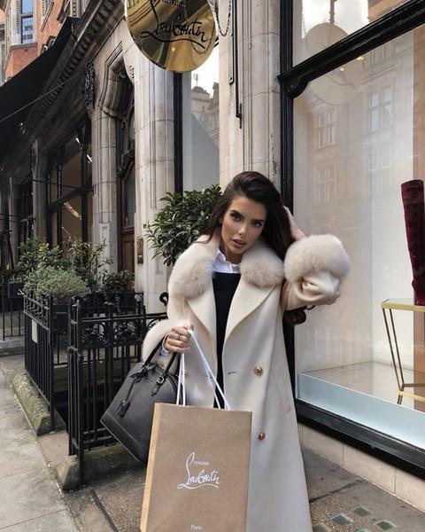 2019 Hiver Laine Manteau Femmes Manches Longues Mode Moyen Laine Mélanges Outwear Femme Pardessus Épais Chaud Veste De Laine Femmes
