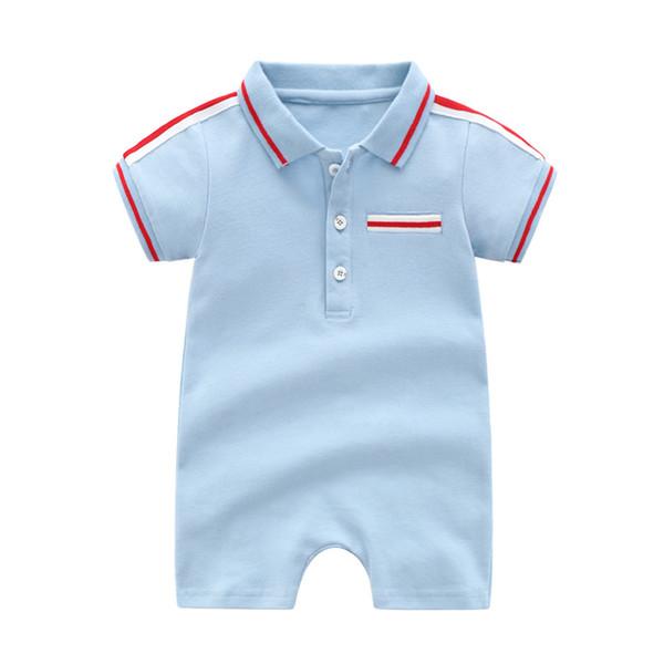 Baby boys designer Romper Summer kids stripe lapel short sleeve Casual jumpsuits newborn cotton Onesie baby boy Bodysuit Y2543