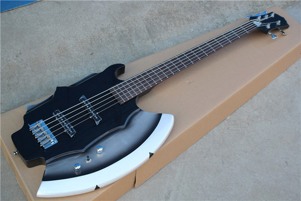 best selling Factory Custom Unusual Axe Shape 5-String Electric Bass Guitar with Chrome Hardwares,Rosewood Fingerboard,Can be Customized