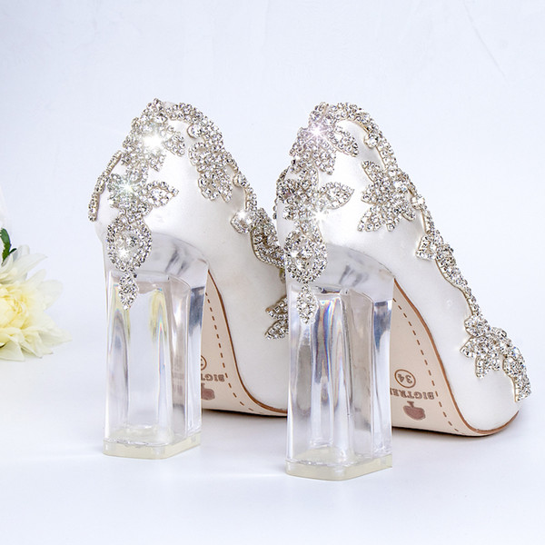 Wedding Shoes Bride Clear Heels Crystal Pumps Christmas Day Evening Party Luxury Queen Satin Silk 10cm Square Heel Plus Size 10