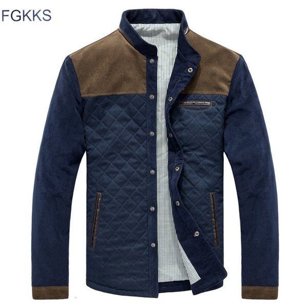 FGKKS Men Fashion Jackets Overcoat Autumn Men's Splice Casual Slim Fit Jacket Coat Male High Quality Jackets Clothing MX191105