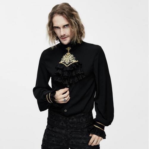 Dantel Yaka Erkek Bluzlar ile Şeytan Moda Victoria Gotik Erkekler İpek Kravat Gömlek Steampunk klasik Siyah Beyaz Smokin Gömlek