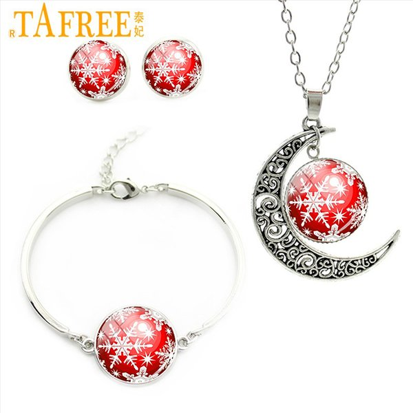 TAFREE Pretty Snowflake Jewelry Sets Classic Fashion Necklace Earrings Bracelet Christmas Gifts For Women Kids Jewelry Sets CM11