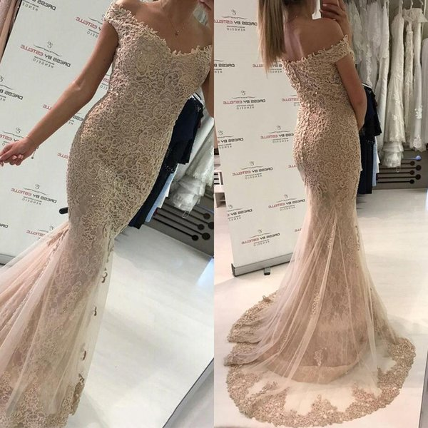 2019 New Off Shoulder Lace Mermaid Prom Gowns Covered Buttons Robe de soirée Evening Gowns Custom Made Party Dresses