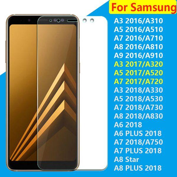 Protector de pantalla de cristal templado 2.5D para Samsung Galaxy A3 A5 A6 A6PLUS A7 A8 A8plus A8 Estrella 2018 A7 A5 A3 2017 A3 A5 A7 A8 A9 2016