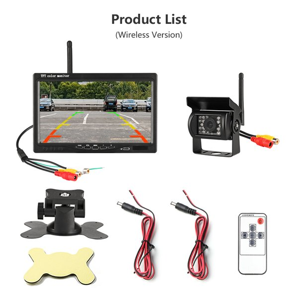 Wireless 7 Inch HD TFT LCD Vehicle Rear View Monitor Backup Camera Parking System With Car Dvr Charger For Truck RV Trailer