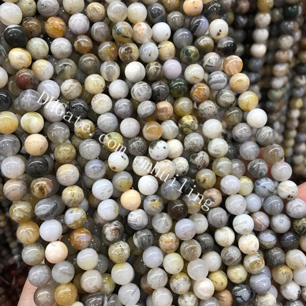 10 Strands Gorgeous Mixed Color Natural Bamboo Leaf Agate Gemstone Smooth Round Genuine Rock Spacer Loose Beads 4-12mm Fit Bracelet Necklace