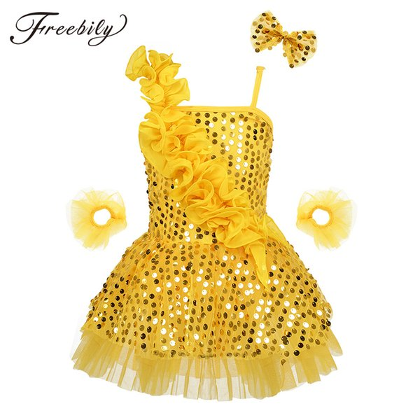 New Design Girls Latin Dance Dresses Professional Shiny Sequins Asymmetric Latin Dress Stage Performance Clothing for Kids