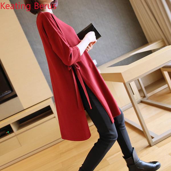Frühling der Frauen-Pullover-Normallack-lose lange Hülsen-Art- und Weisepullover-Strickjacke mit einer Größe langen Frauen, die Hemd 0809 grundiert