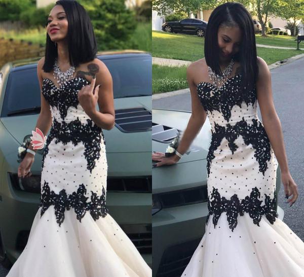 2019 robes de bal blanches chérie dentelle appliqued perle satin noir fille robe de soirée filles Graduation Homecoming Wear 2019 robe de cocktail