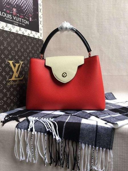 2019 M94519 Hot Sale Real Calfskin Red Women Shoulder Bags Hobo Handbags Top Handles Boston Cross Body Messenger Shoulder Bags