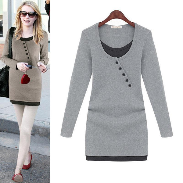 Winter Dresses For Womens Nice Long Sleeve Dress Solid Black Gray Slim Lady O-Neck Fashion Pretty Women False Two Pieces Clothes