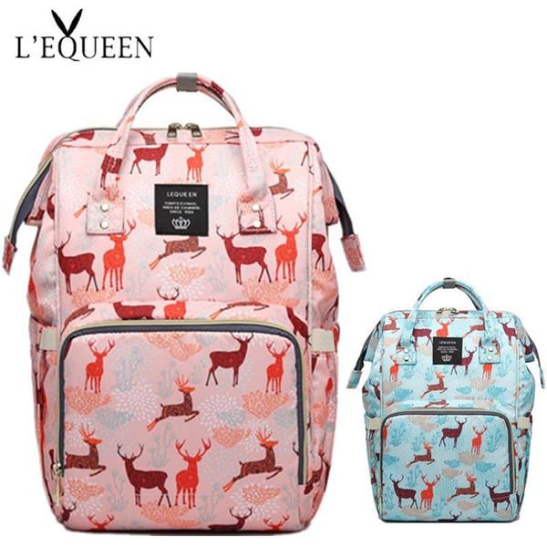 LEQUEEN Double D Rings Пеленки сумка большой емкости портативный Мамочка подгузник сумка 44 * 31 * 18см Deer Pattern Путешествия Рюкзак Nursing